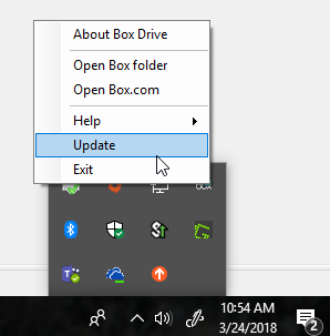 Right click Box Drive to scroll to Update