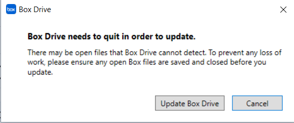 Box Drive needs to exit to update, exit any open files then click Update